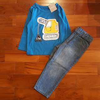 Blue digger shirt set jeans