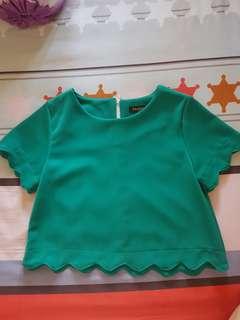 [Preloved] blouse crop hijau