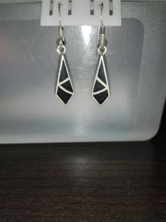Sterling Silver Aztec Design Dangle Earrings