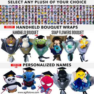 GRADUATION GIFT PLUSH & GRADUATION BOUQUET (Add Names!)