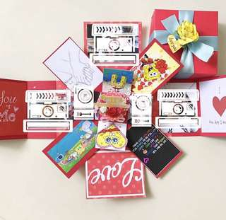 Happy 2nd Anniversary spongebob handmade Explosion Box card