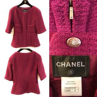 Chanel burgandy shirt sleeves jacket size 34