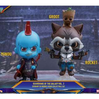 Hot Toys Cosbaby Groot, Yondu & Rocket Marvel Guardians Of The Galaxy Vol. 2 Bobble-Head Collectible Set MISB