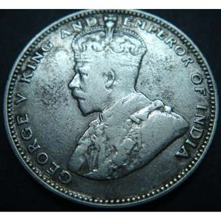 (CN 0049) 1927 Straits Settlements 20 cents silver coin