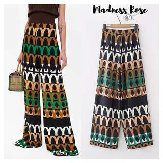 Color Print Palazzo Trousers