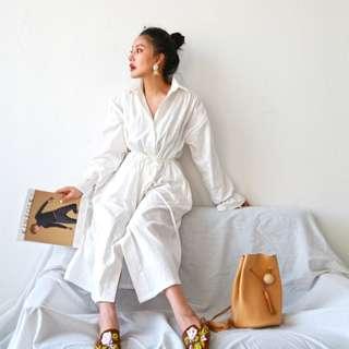 VM 2018新款復古極簡主義 優雅清新白色佛系全棉 慵懶風 襯衫式連身裙