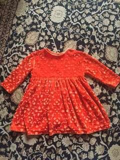 Little orange velvet baby dress