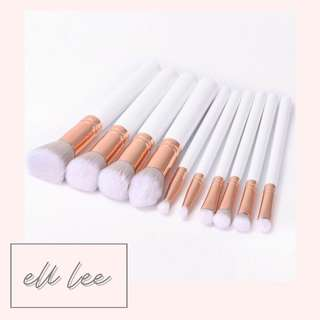 10PC White Makeup Brushes