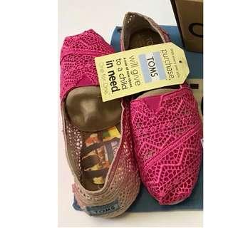 toms 漸變粉紅 漸變粉藍 通花 平底鞋