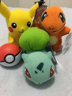 Pokémon plushies and pokeball bundle