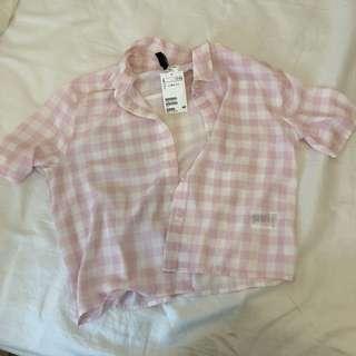 Hm DIvided pink gingham check crop sheer shirt