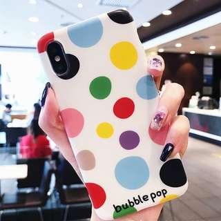 ^手機殼IPhone6/7/8/plus/X : 夏日小清新彩色波點全包邊軟殼