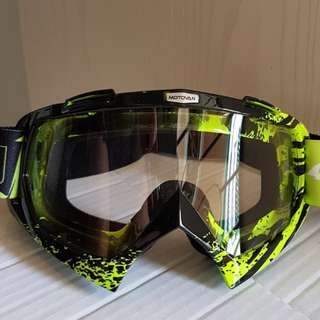 ★MOTOVAN GOGGLES ★ Motorcycle helmet Clear lens Goggles for e-scooter ★ downhill ★ scrambler ★ off road ★ dirt ★ motocross ★ bike ★ racing ★ cycling ★Green Clear Lens ★ New arrivals
