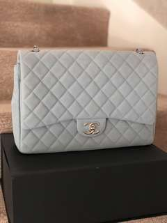 Chanel  Iridescent Caviar Maxi Double Flap Grey