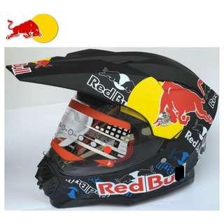 INSTOCK SIZE L ★ Redbull Full Face Motorcycle Helmet ★ Motocross ★ Scrambler ★ Off road ★ Dirt Bike ★ Black ★ Goggles not included ★ New arrivals