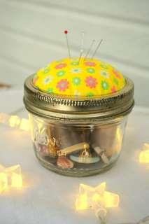 古董玻璃針包罐