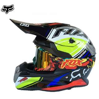 INSTOCK SIZE L ★ Free GOGGLES★ Fox Full Face Motorcycle Helmet ★ Motocross ★ Scrambler Off road ★ Dirt ★ Bike ★ Black ★ Ready stock ★ Type A