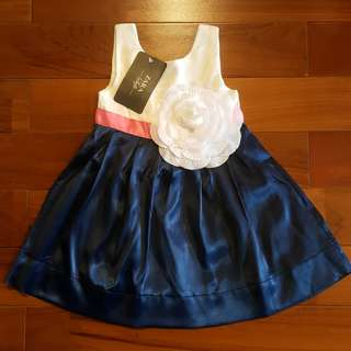 Girl dress navy bunga (non ori) REJECT