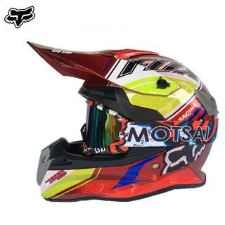 INSTOCK SIZE L & XL ★ Free GOGGLES ★Fox Full Face Motorcycle Helmet ★ Motocross ★Scrambler ★Off road★ Dirt Bike ★Ready stock ★ Red A ★  New arrivals