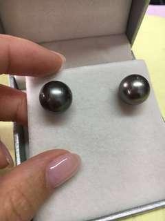 12mm 大溪地黑珍珠耳環 Tahitian pearl earring