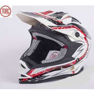 INSTOCK SIZE L ★ Torc Full Face Motorcycle Helmet ★ Motocross ★ Scrambler ★ Offroad ★Dirt Bike ★New Arrivals ★ White Sandstorm★ New arrivals ★ Ready stock