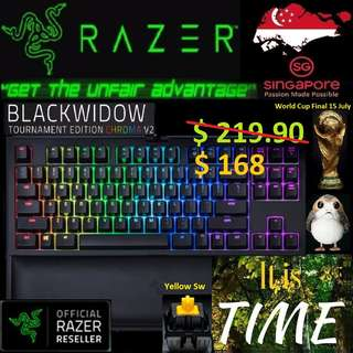 """Razer BlackWidow Tournament Edition ChromaV2 """"Orange Switch """"."""