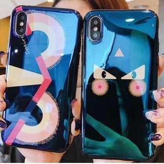 ^手機殼IPhone6/7/8/plus/X : 型格貓眼藍光全包黑邊軟殼