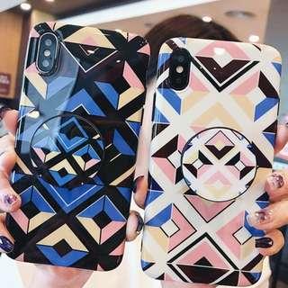 ^手機殼IPhone6/7/8/plus/X : 創意幾何圖案配氣囊支架全包黑邊軟殼