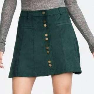 Zara Trafaluc Green Faux Suede Skirt