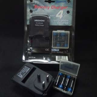MEDION Battery Charger with 4 rechargeable batteries. Brand new, never used