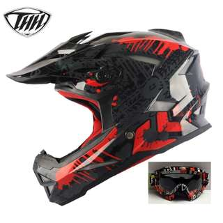 INSTOCK SIZE L ★ FREE GOGGLES (worth $29) @ $100 ★THH Full Face Motorcycle Helmet★  Motocross ★ Scrambler ★ Offroad ★ Dirt Bike ★ Glossy Black Red★ Helmet @ $90 without goggles ★ New arrival ★ black red