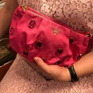 Prada 化妝袋 pink with crystal clutch bag
