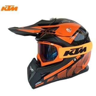 INSTOCK SIZE L ★FREE GOGGLES ★ KTM Full Face Motorcycle Helmet ★ Motocross ★ Scrambler Offroad★ Dirt Bike ★ New Arrivals ★ Orange Black ★ New arrivals ★