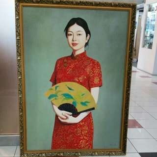 China Oil On Canvas painting 'Qipao Lady' L100xH136cm By Wu Mao Er