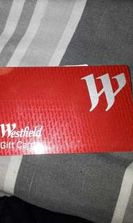 Partially used Westfield gift card