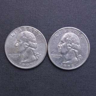 1997-P,1998-P 美金25分硬幣兩枚