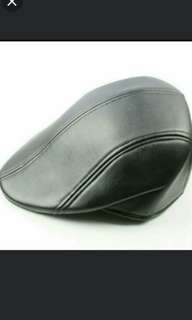 Mens Solid PU Leather Duckbill Beret Golf Driving