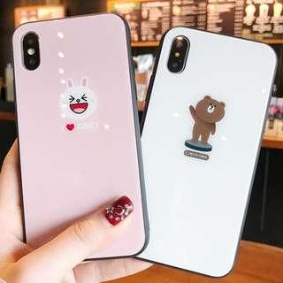 ^手機殼IPhone6/7/8/plus/X : 小清新Linefriends全包黑邊玻璃背板殼