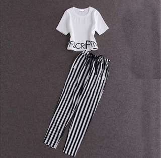 RM50 2pc SET SHORT SLEEVE TOP and STRIPE PANTS