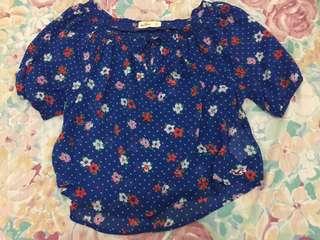 Hollister Blue Floral top