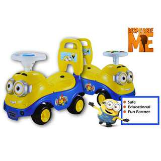Kids Children Minion Music Steering Push Car Learning Walking Toys With Storage Box