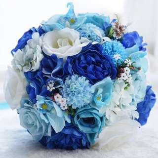 🚚 Blue Rose Wedding / Propose Bouquet Rose Bouquet Flower for Gifts Valentines Day Bridal Wedding Gifts