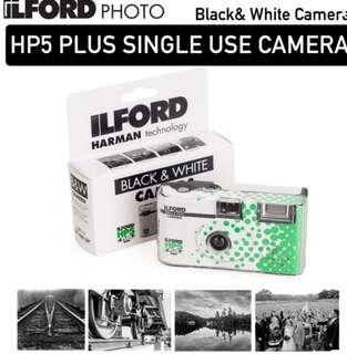 ILFORD HP5 PLUS SINGLE USE DISPOSABLE BLACK & WHITE FILM INSTANT FLASH CAMERA