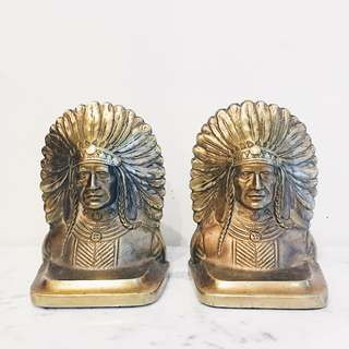 Antique Brass Native American Chief Bookends (Pair)