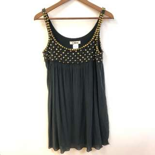 Chloe navy with metal beads vest dress size 34