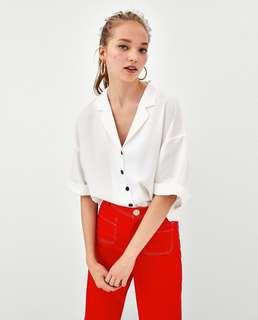 🚚 OshareGirl 07 歐美女士西裝領單排扣寬版短袖上衣