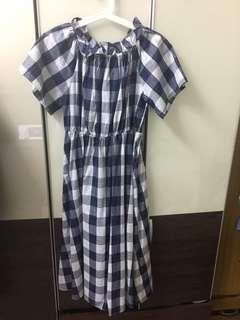 🚚 一字領藍格紋洋裝