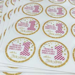 One year old birthday party sticker labels baby shower full month wedding engagement customised