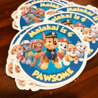 Customised stickers labels for birthday party baby shower full month celebration paw patroll