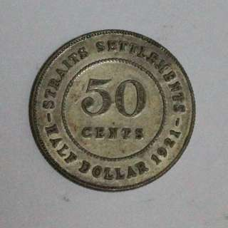 Duit Syiling Lama Old Coin 1921 Straits Settlements Fifty 50 Cents